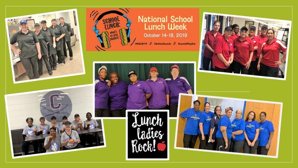 Collage of cafeteria staff celebrating National School Lunch Week 2019